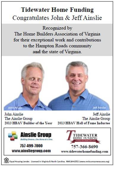 John & Jeff Ainslie recognized by the Home Builders Association of Virginia for their exceptional work and contributions to the Hampton Roads community and the state of Virginia.