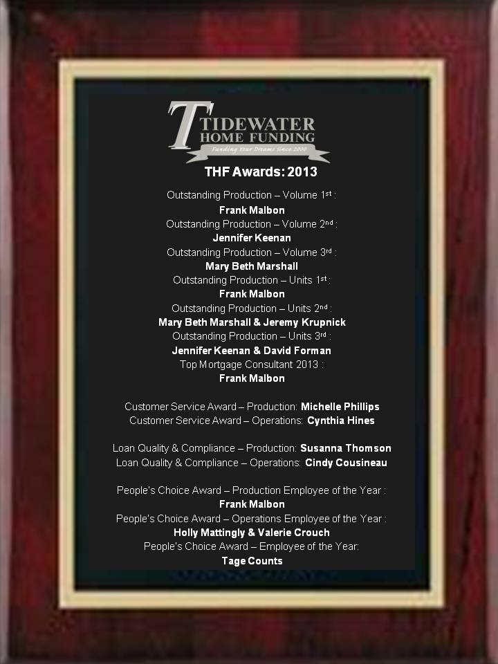 2013 THF Awards